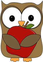 owl with apple